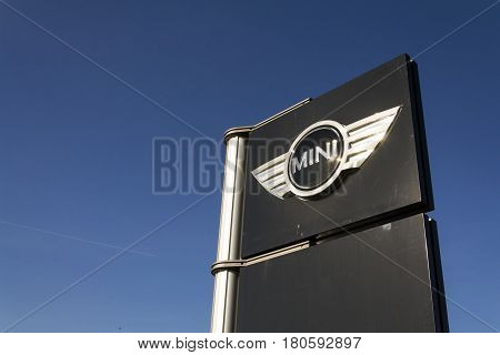 Prague, Czech Republic - March 31: Mini Automotive Marque Logo In Front Of Dealership Building On Ma
