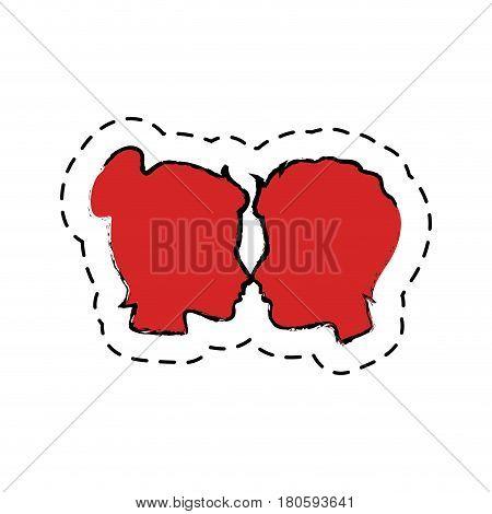 couple heads love card vector illustration design
