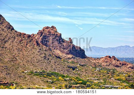 The Praying Monk rock formation on the north side of Camelback Mountain in Phoenix Arizona viewed from helicopter