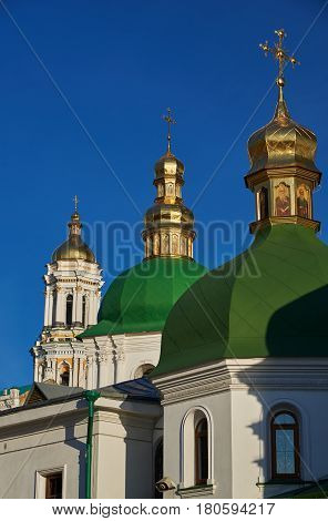 Early morning. Domes of the church and bell tower in the Kiev Pechersk Lavra of the Orthodox Church