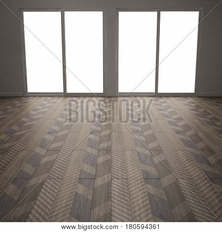 Empty room with wooden parquet floor diagonal herringbone minimalist interior design colored tiles, 3d illustration