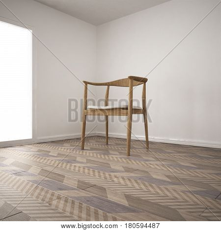 Empty room with armchair and wooden parquet floor diagonal herringbone minimalist interior design, 3d illustration