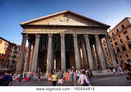 Pantheon, Rome, Italy - July 10. 2012.: Tourists visit the Pantheon on July 10. 2012. The Pantheon is a famous church in Rome, built in the 2nd century.