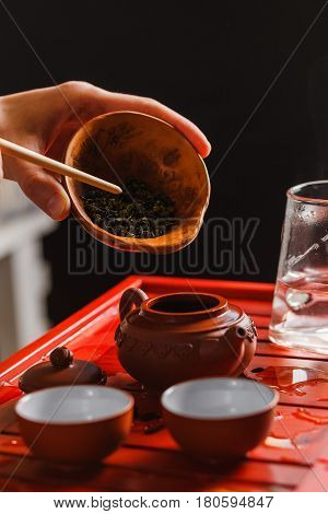 The Process Of Brewing Tea At The Tea Ceremony.
