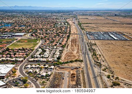 Early stages of the Loop 202 freeway extension looking to the east from above along Pecos Road in Phoenix Arizona