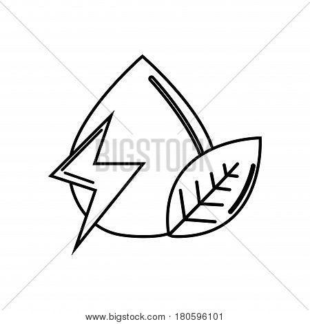 silhouette drop of water with energy sign and leaf, vector illustration