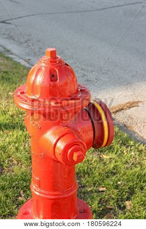 A bright red fire hydrant with yellow encircling the nozzle sitting on green grass on a sunny day.