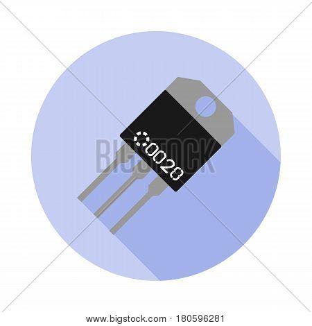 Vector image of a transistor on a circular base