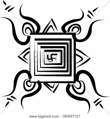 Hindu geometrical religious Ganesha yantra on white