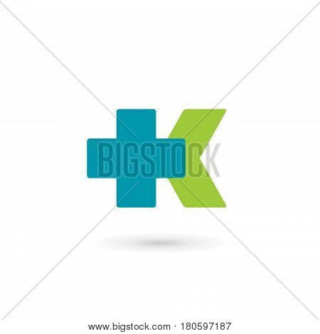 Letter K cross plus medical logo icon design template elements