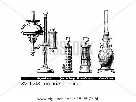 Vector hand drawn illustration of XVIII - XIX centuries lightings evolution. Argand Stephenson (Geordie) Davy (Mueseler) and Carcel lamps. Isolated on white background.