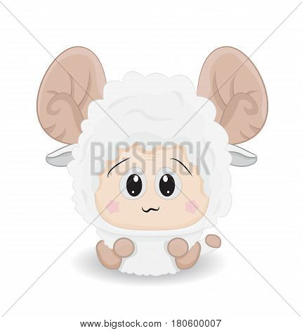cartoon cute baby sheep sti on ground isolated