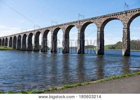 The Grade 1 listed railway viaduct (bridge) at Berwick upon Tweed