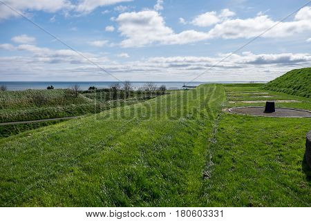 View from the ramparts at Berwick upon Tween showing gun emplacement/bastion