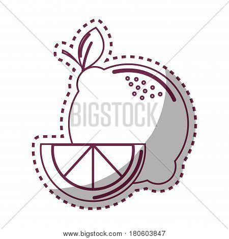 sticker silhhouette lemon fruit icon stock, vector illustration design image