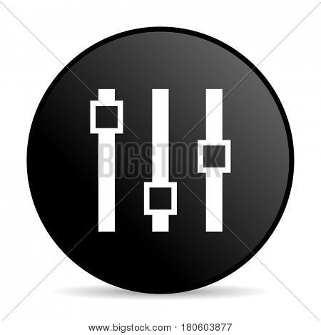 Slider black color web design round internet icon on white background.