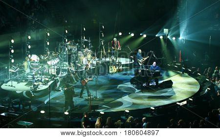 UNIONDALE, NY-APR 5: Billy Joel performs in concert at NYCB Live, Home of The Nassau Veterans Memorial Coliseum on April 5, 2017 in Uniondale, New York.