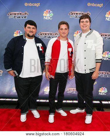 NEW YORK-AUG 11: (L-R) Singers Tyler Davis, Will Richey and Caleb Conrad of Triple Threat attend 'America's Got Talent' season 10 taping at Radio City Music Hall on August 11, 2015 in New York City.