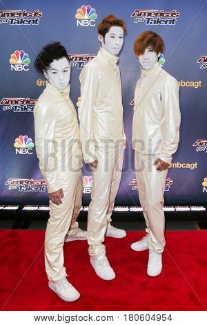 NEW YORK-AUG 11: Performance group Siro-A attends the 'America's Got Talent' season 10 taping at Radio City Music Hall on August 11, 2015 in New York City.