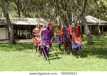 Warriors Of Maasi Village In Ceremony, Ngorongoro Conservationa Area, Tanzania