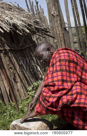 Chief In Krall In Maasi Village, Ngorongoro Conservationa Area, Tanzania