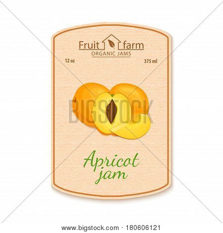 Vector apricot jam lable. Composition of orange apricot fruits. Design of a sticker for a jar with apricot jam, fruit marmalade, juice, smoothies. Sticker in retro style with texture for your design.