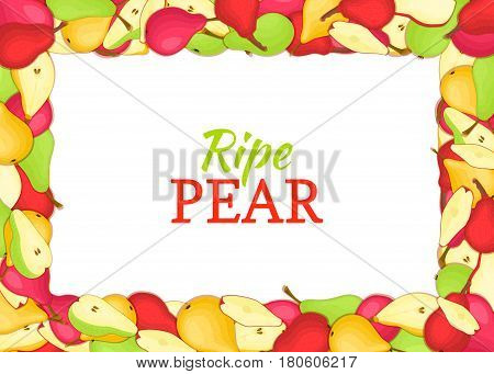 Horizontal Rectangle colored frame composed of delicious pears fruit. Vector card illustration. Rectangle pear frame Ripe fresh pears fruits appetizing looking for packaging design of juice breakfast food