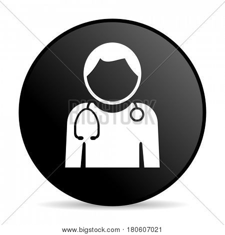 Doctor black color web design round internet icon on white background.