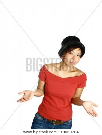 Young Asian woman shrug her shoulder in wonder, isolated