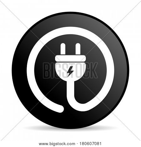 Electric plug black color web design round internet icon on white background.