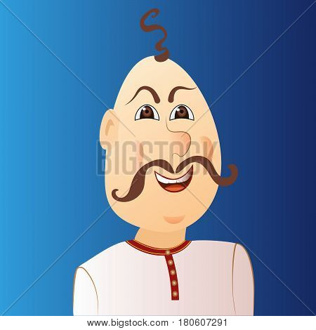 People avatar cossack with forelock mustache. Vector illustration.