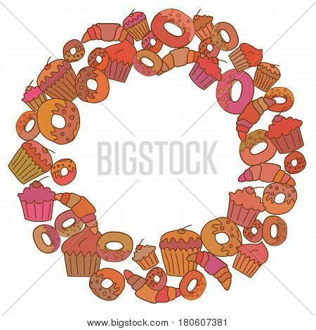 Frame of ring shape of bright pastry. Card template with space for text.