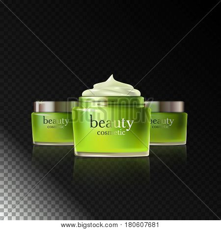 Beauty cosmetic product green cream ads, package or liquid. 3D vector illustraion on dark transparent background isolated. Stock vector.
