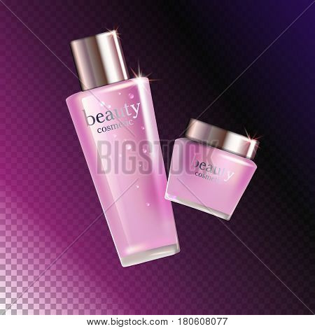 Beauty cosmetic product pink rose cream ads, package or liquid. 3D vector illustration on dark transparent background isolated. stock vector.