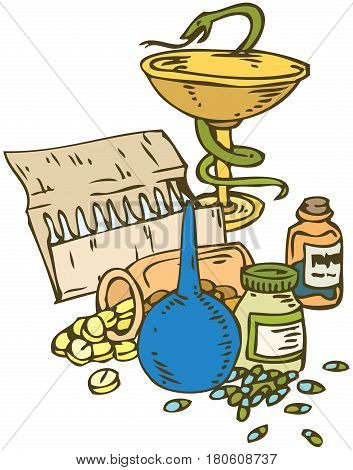 Medicine and Health. Bowl with a Snake and Pills Isolated on a White Background. Hand Drawn Illustration