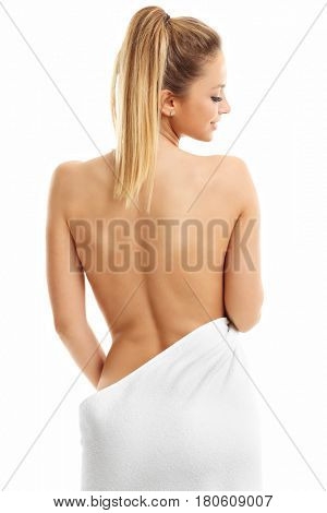 Beautiful woman with towel after bath isolated on white background