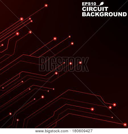 Circuit. Black abstract background of digital technology. New technologies in design. Computer network. Red glowing neon lines. Computer system
