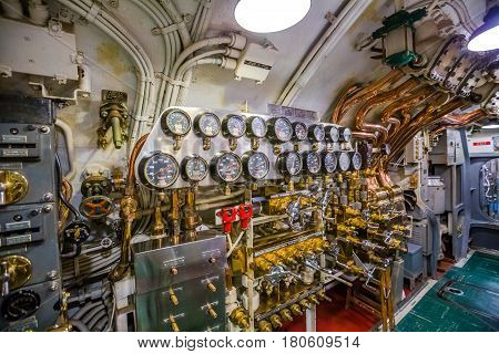 HONOLULU, OAHU, HAWAII, USA - AUGUST 21, 2016: the machine engine room of USS Bowfin Submarine SS-287 at Pearl Harbor. Historic Landmark and popular tourist attraction in Oahu, Hawaii.