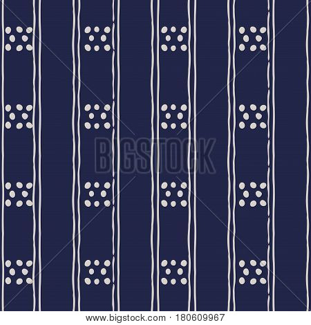 Abstract seamless background in dark blue and white. Seamless Tribal pattern. Fabric textile print. Simple folk uneven motif with strips. Polkadot polka dot pattern.Russia ethnic vector background. poster
