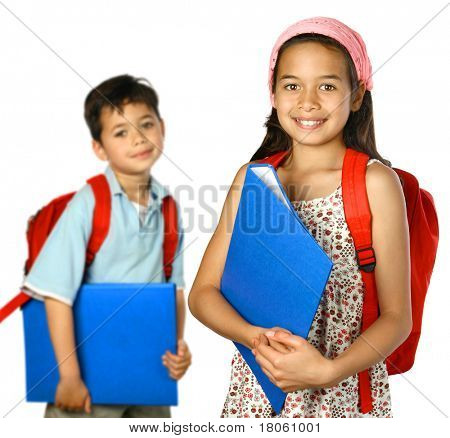 School children with blue folder and red rucksack, ready to attend school.