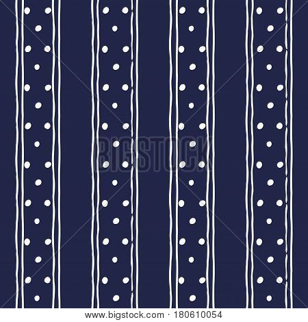 Abstract seamless background in dark blue and white. Seamless Tribal pattern. Fabric textile print. Simple folk uneven motif with strips. Polkadot polka dot pattern.Russia ethnic vector background.