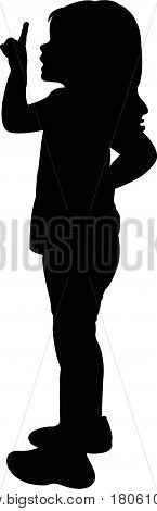 a girl body, standing , silhouette vector