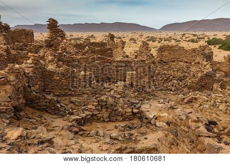 ruins of the ancient city in the Sahara desert, Morocco