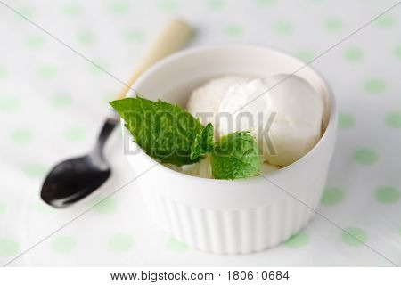 Two Scoops Of White Ice Cream - Lemon, Vanilla Or Coconut Flavor