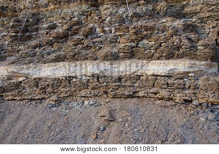 texture of soil in a rock ashore lake