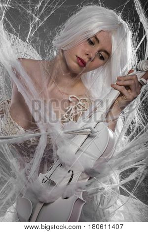 Musician, Violinist with white violin, beautiful girl with silver hair and lace clothes