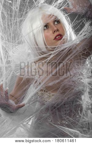Performancce, Violinist with white violin, beautiful girl with silver hair and lace clothes