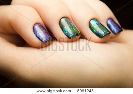 Nails. The design of broken glass. Beautiful matte manicure. Combined manicure. Covering nail gel polish