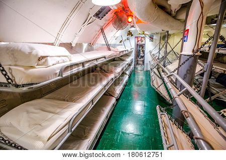 HONOLULU, OAHU, HAWAII, USA - AUGUST 21, 2016: sleeping room with camp beds of USS Bowfin Submarine SS-287 at Pearl Harbor. Popular tourist attraction in Oahu, Hawaii.