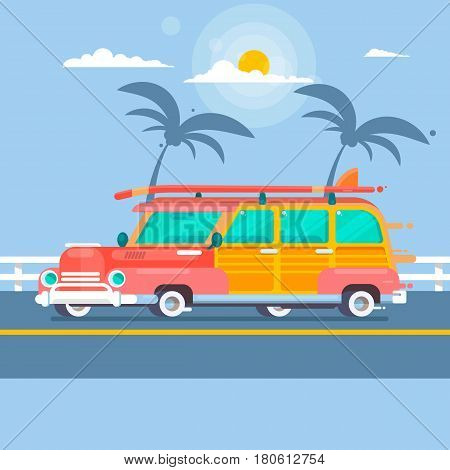 Woodie surf wagon on summer background with palm trees